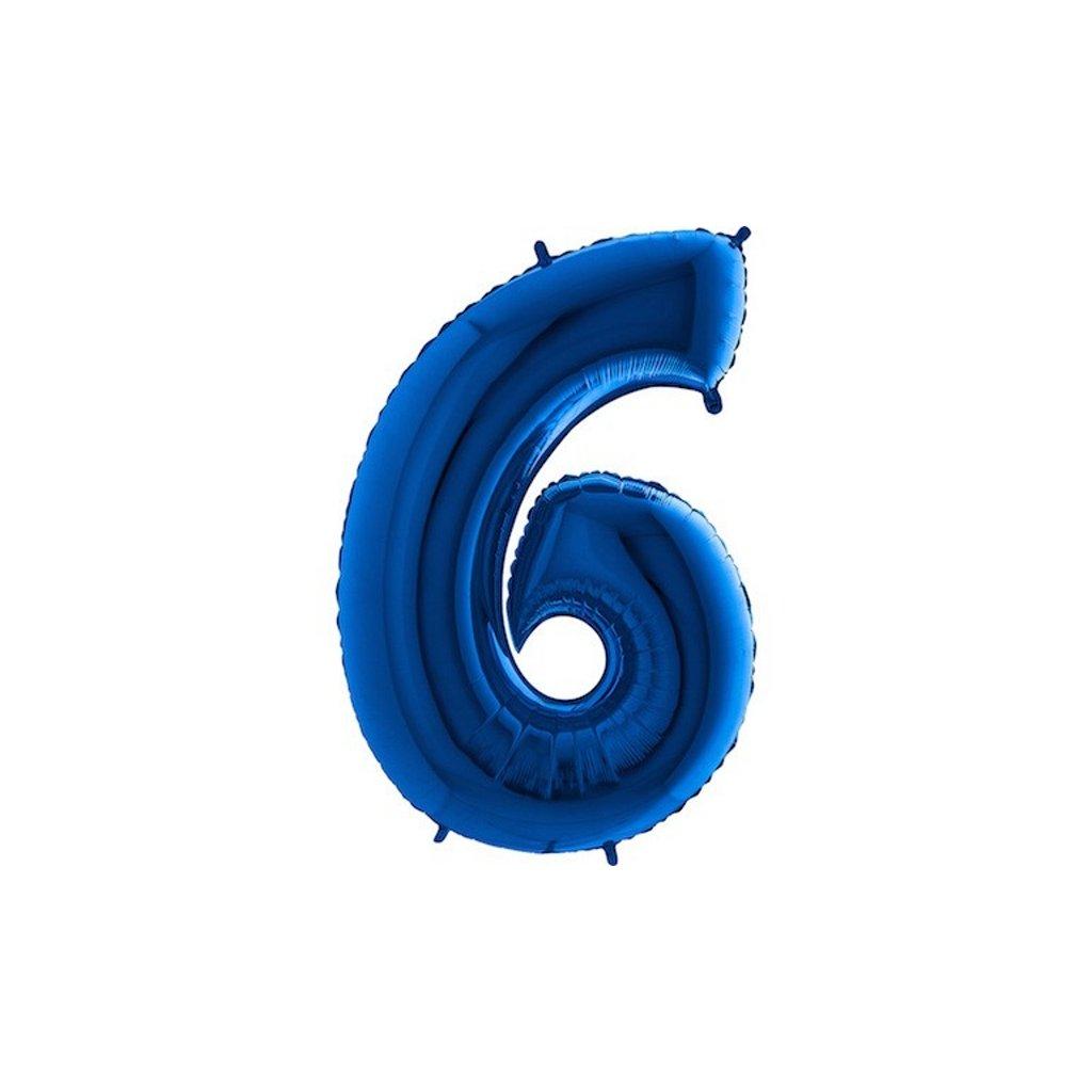 Balonek foliová číslice 6 modrá velká 105cm