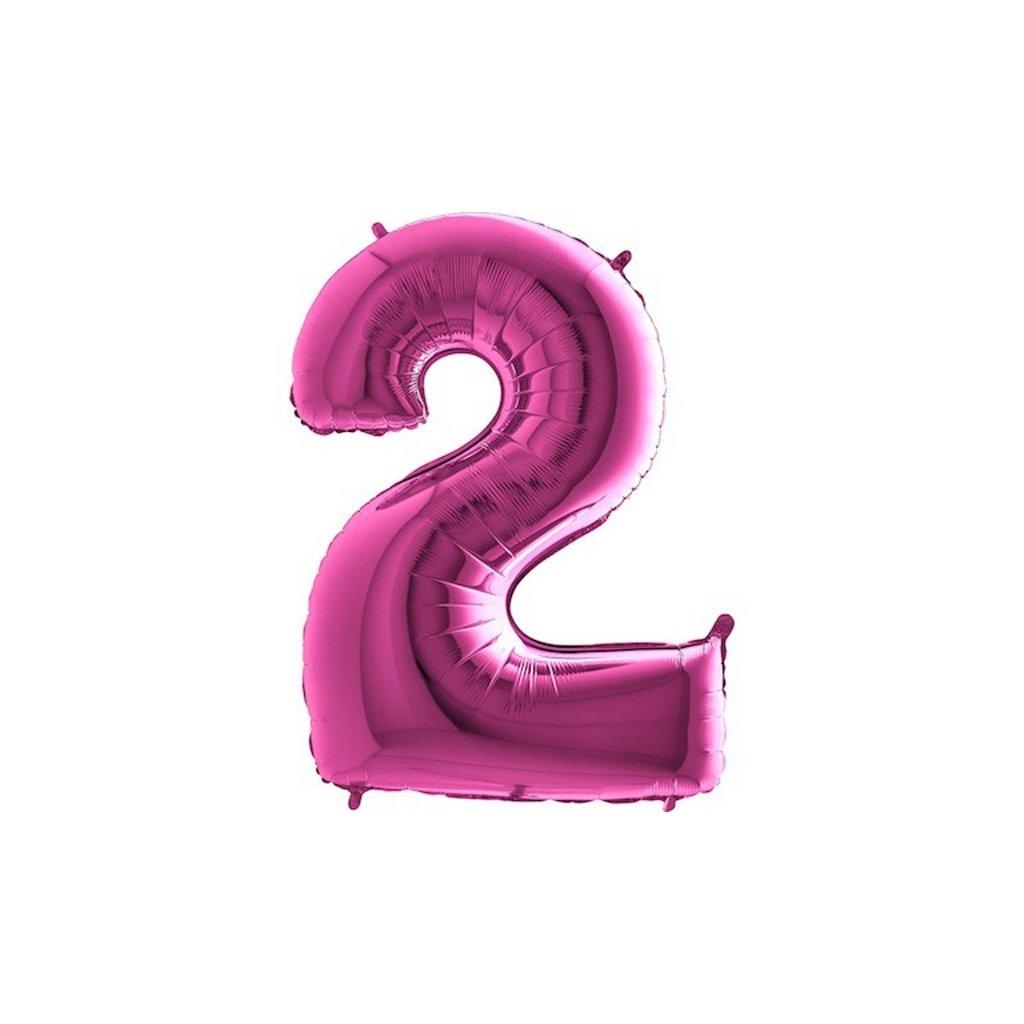 Balón fóliové číslo růžové 2 105 cm
