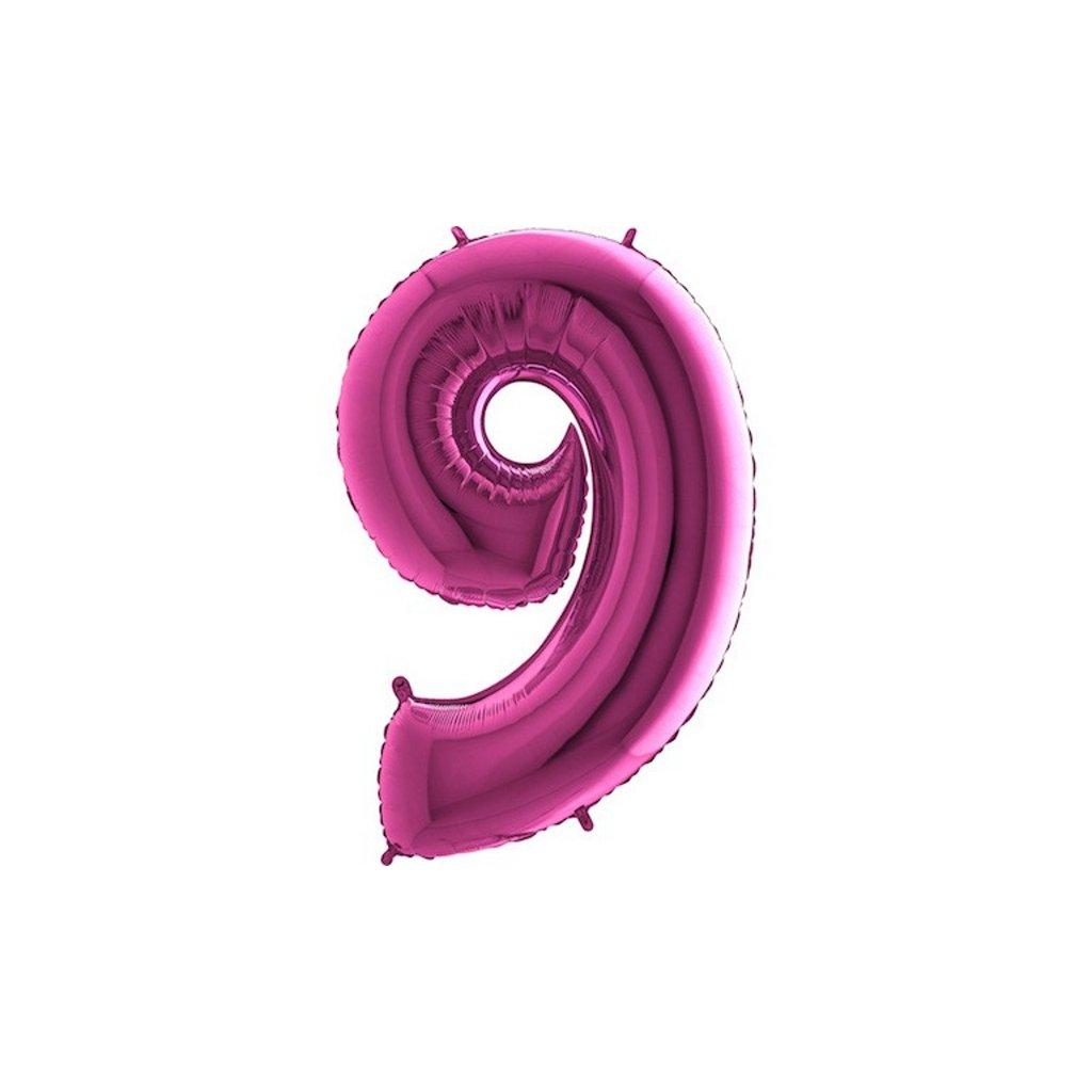 Balón fóliové číslo růžové 9 105 cm