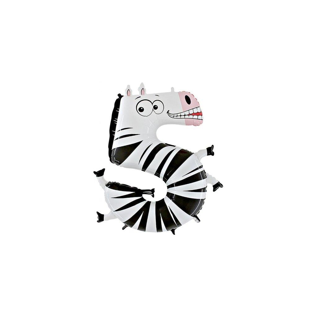 """Balón fóliový číslice """"5"""" zebra 102 cm"""