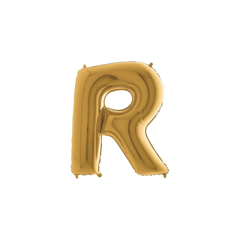 Balonek foliové zlaté písmeno R velké  102cm