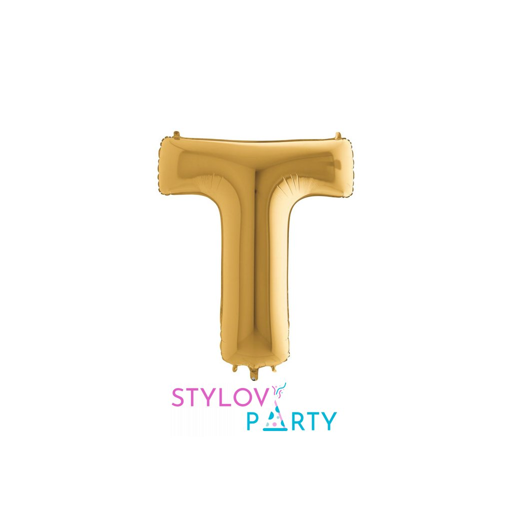 Balónek zlatý písmeno T