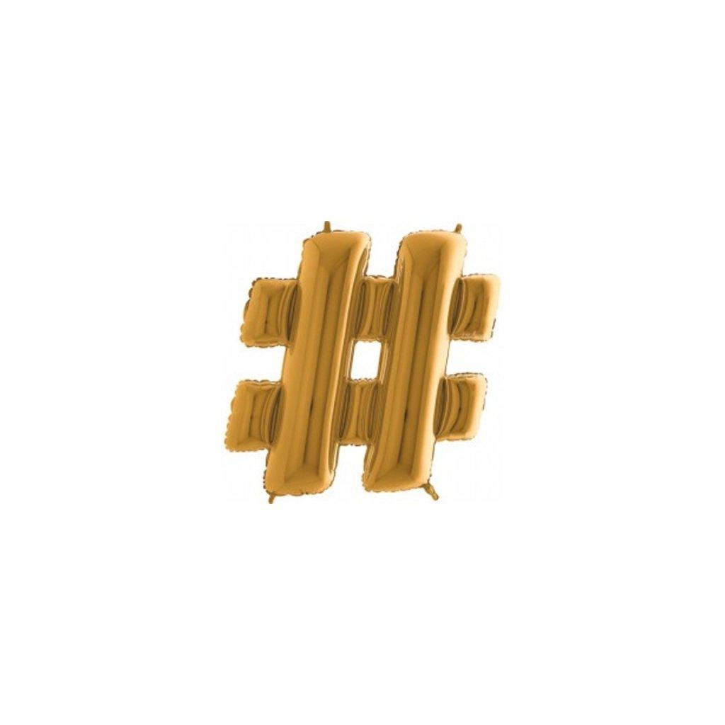 Balonek foliový  zlatý Hashtag #