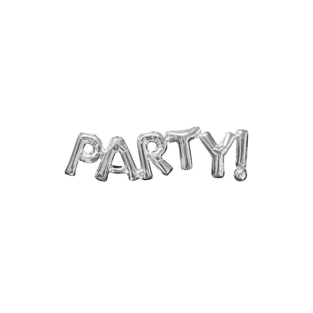 BALÓNEK nápis PARTY! stříbrný