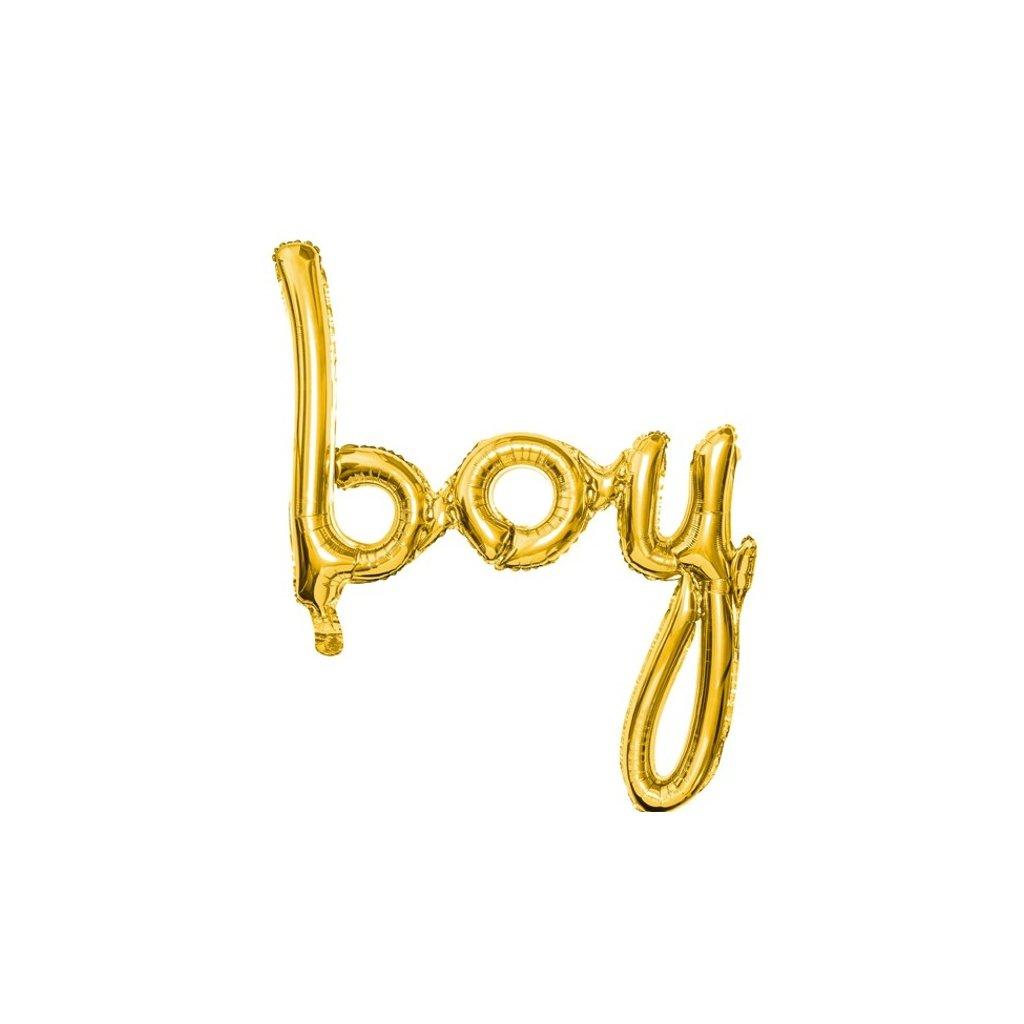 Balonek foliový nápis BOY zlatý 64x74cm