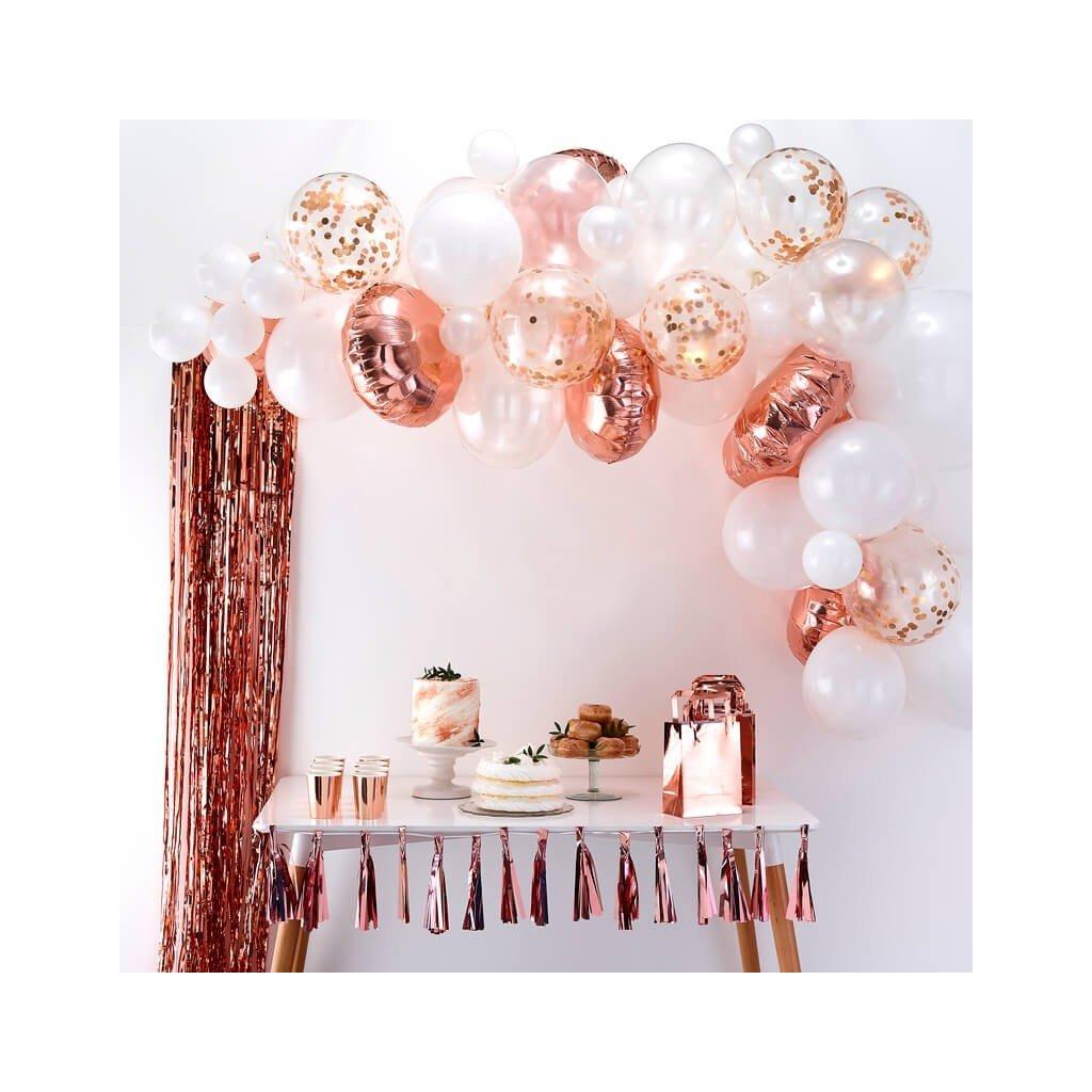SADA balónků na balónkový oblouk RŮŽOVÉ ZLATO 70ks