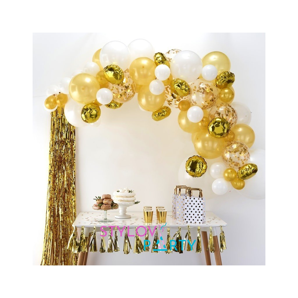 Balonkový set na výrobu balonkového oblouku (girlandy). Barva zlatá