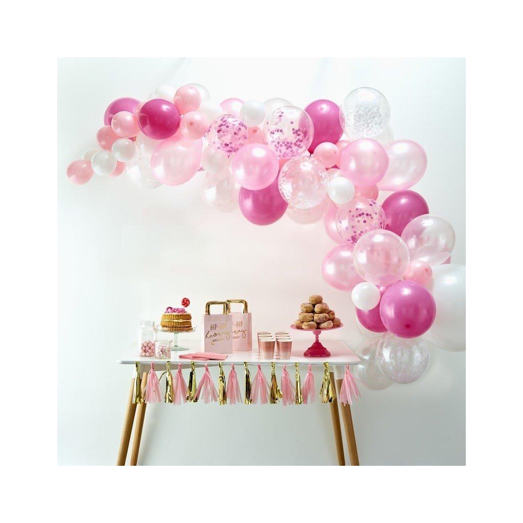 SADA balónků na balónkový oblouk RŮŽOVÁ 70ks