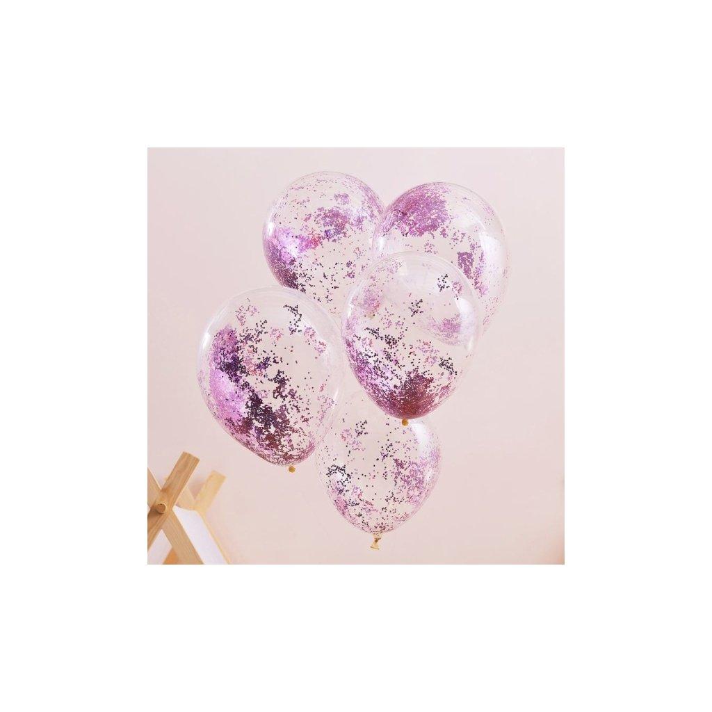 Balonky designové latexové  s glitry růžové 30cm 5ks