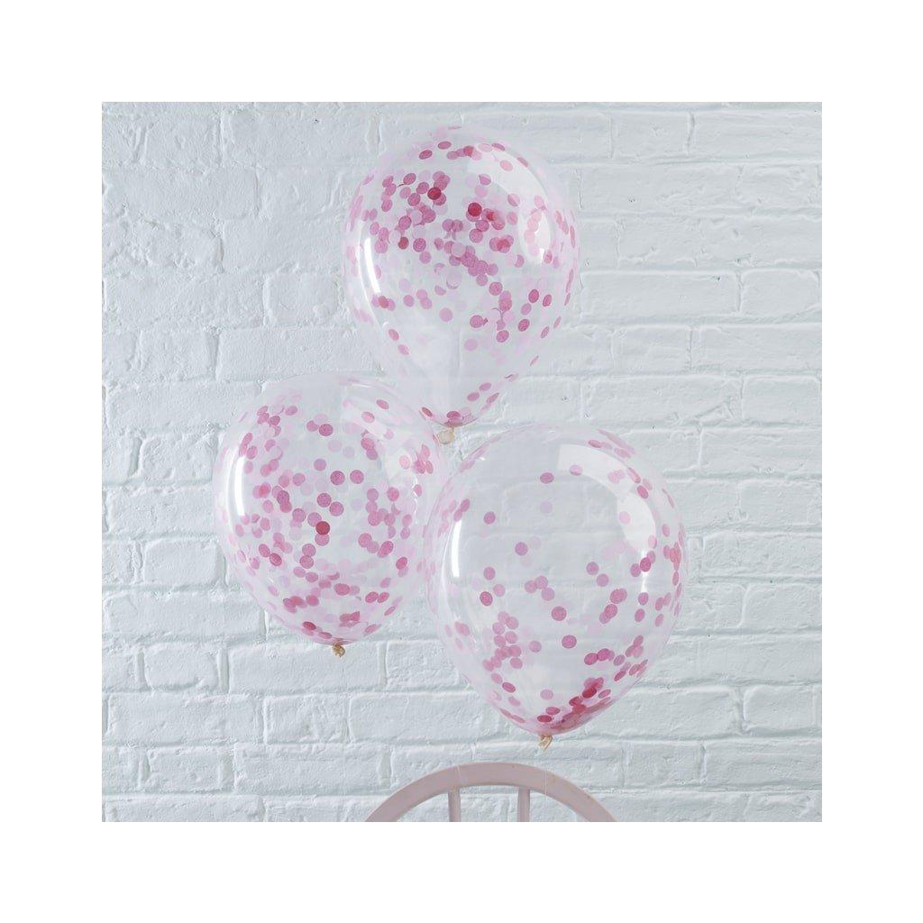 Balonky s růžovými  konfetami průhledné 5 ks