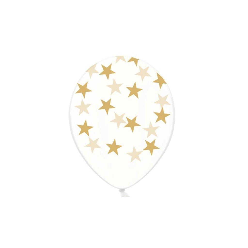 Balonky latexové krystalické průhledné s potiskem zlatých hvězdiček 30 cm - ekonomické balení  50 ks
