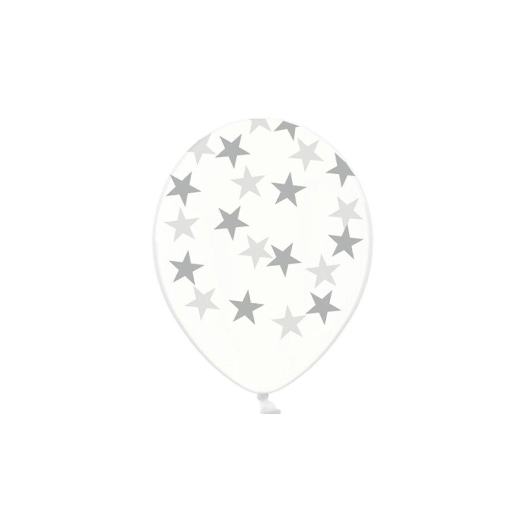 Balonky latexové krystalické průhledné s potiskem stříbrných hvězdiček 30 cm - ekonomické balení  50 ks