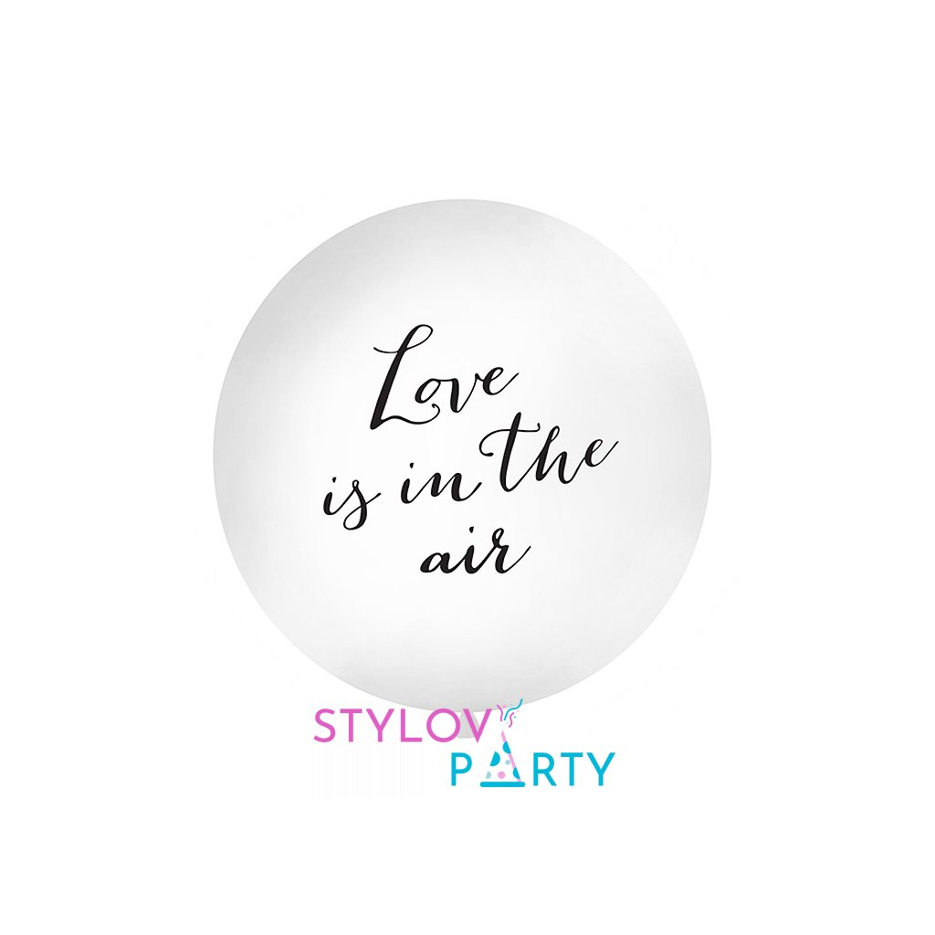 Balon latexový Jumbo s textem Love is in the air 1 m