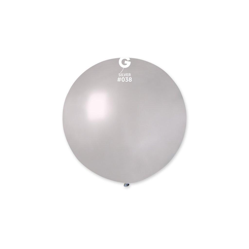 Balón z přírodního latexu kulatý dekorační velký 80 cm stříbrný
