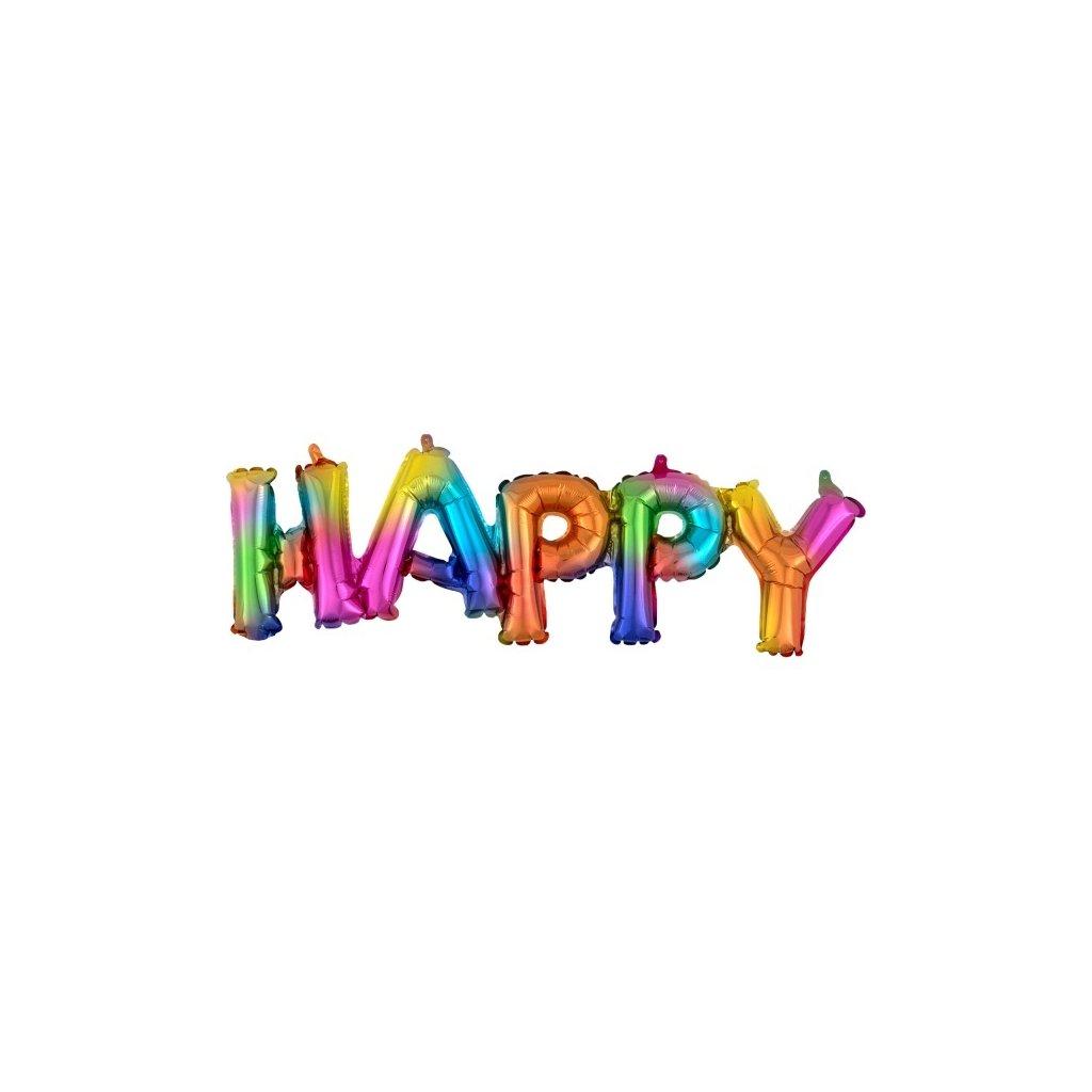"""Balonek fóliový nápis """"Happy"""" v barvě duhy"""