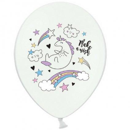 Balonek bílý s potiskem Jednorožec