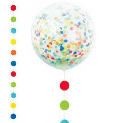 Balonek velký latexový kulatý transparentní 60 cm s konfetkami a duhovým stužkovým závěsem