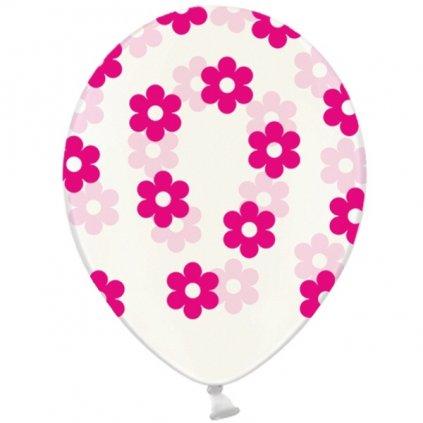 Balonky transparentní s potiskem kvítků v barvě magenta 30 cm 6ks