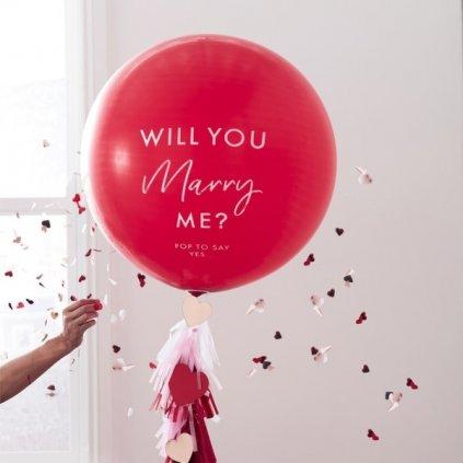 Balon velký latexový s nápisem Will you marry me červený 91 cm