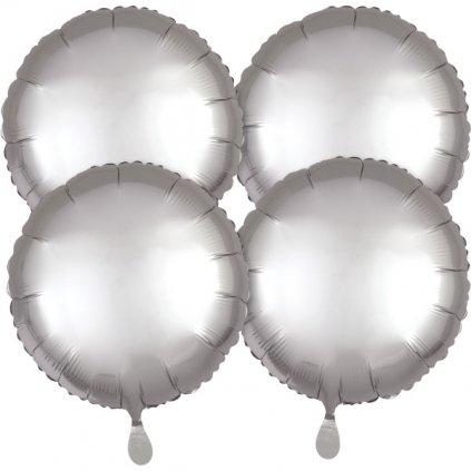 Balonky kruhové foliové s platinovým leskem  45 cm 4 ks