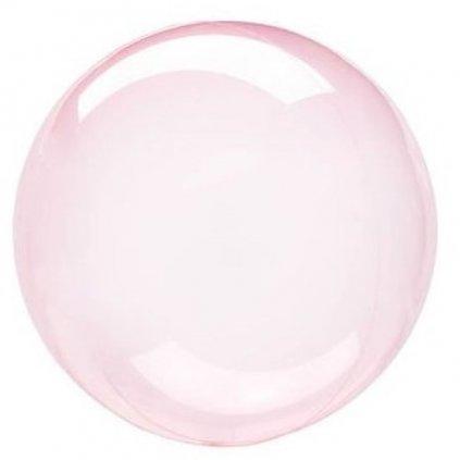 Balonek Bubbles transparentní  růžový 45 cm