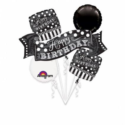 Buket foliových balonků Happy Birthday Black & White 5ks