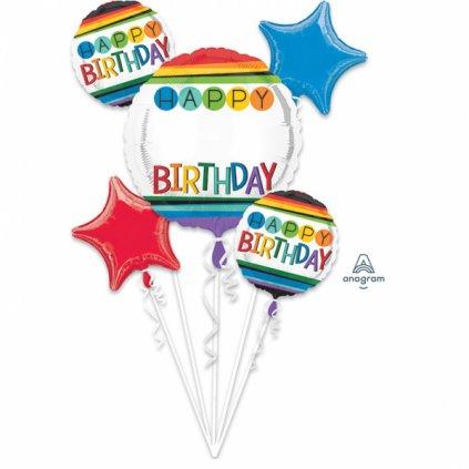 Buket foliových balonků Happy Birthday Color 5ks