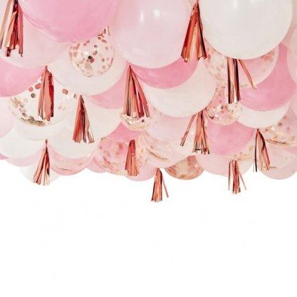 Sada balonků a střapců rose gold 160ks