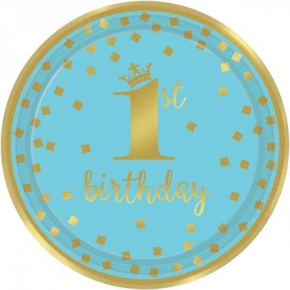 Talíře 1. narozeniny modré se zlatým motivem 23cm 8ks