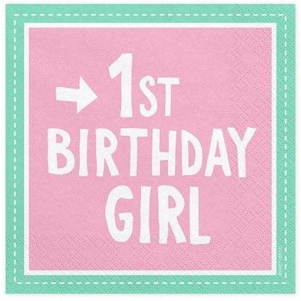 Ubrousky 1st Birthday Girl růžovotyrkysové 33x33cm 20ks