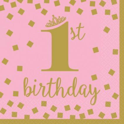 Ubrousky 1. narozeniny banketové růžové se zlatým motivem 33x33cm 16ks
