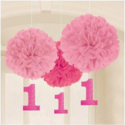 Pompomy 1. narozeniny růžové