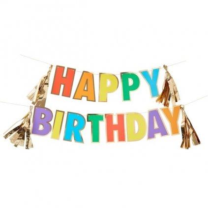 Girlanda duhová Happy Birthday se zlatými střapci