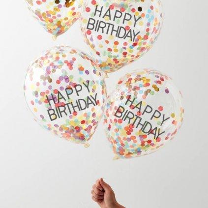 Balonky latexové transparentní HB s barevnými konfetami 30cm 5ks