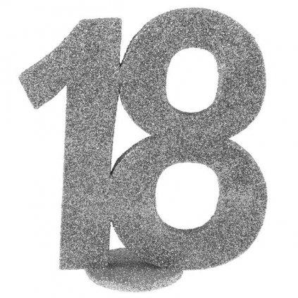 Číslovka na stůl 18 ve stříbrné barvě 1ks