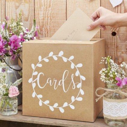 Box na přání s nápisem Cards Nature 25 x 25 x 25 cm