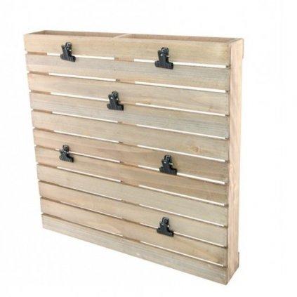 Paleta dřevěná dekorační 40 x 6 x 40 cm s klipsy