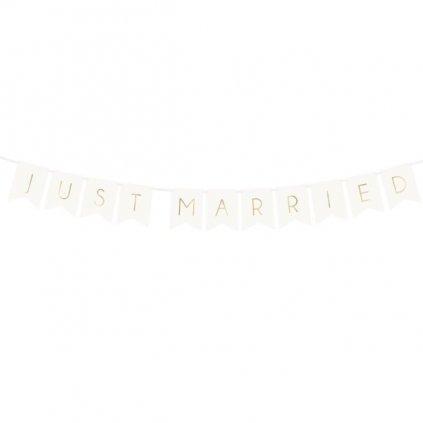 Banner Just Married vlaječkový bílý  15x155cm