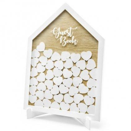 Kniha na přání Domeček se srdíčky dřevěná bílá 30,5 x 43 cm