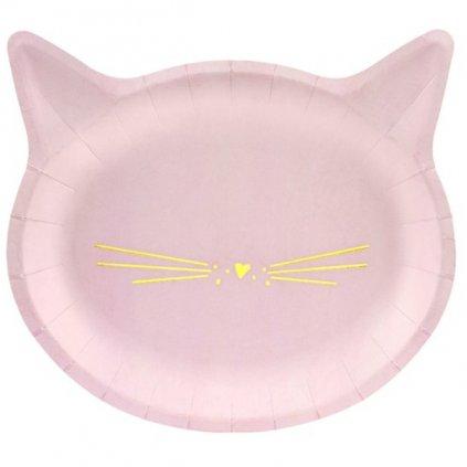 Talíře Kočičí hlava růžové 6 ks