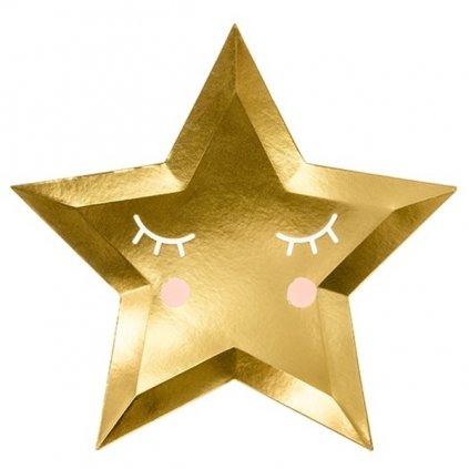 Talířky tematické na party hvězda zlaté malé 6ks