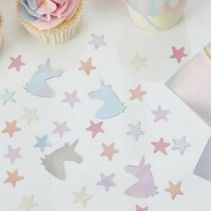 Konfety na stůl duhové Jednorožci a hvězdy 14g
