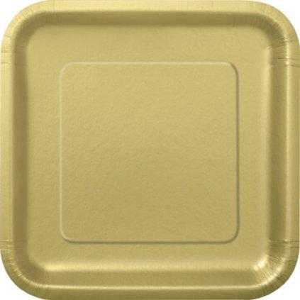 Talíře zlaté čtvercové 14ks