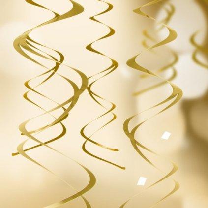 Spirály závěsné metalicky zlaté 5ks