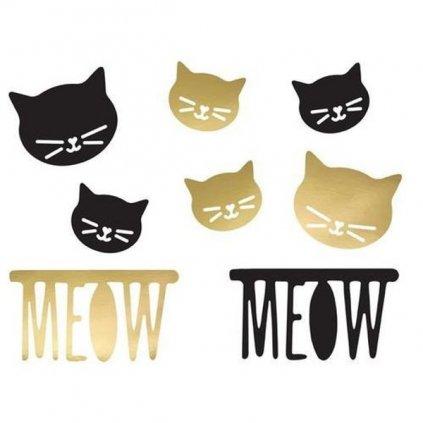 DEKORACE Kočka černá a zlatá 8ks