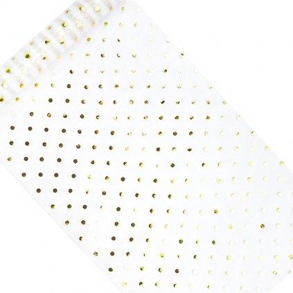 Organza dekorační se zlatými puntíky 9m