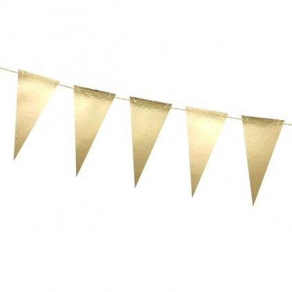 Girlanda metalicky zlaté vlaječky 215cm