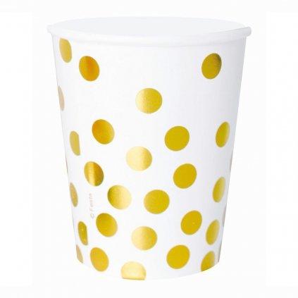 Kelímky bílé se zlatými puntíky 270ml 6ks