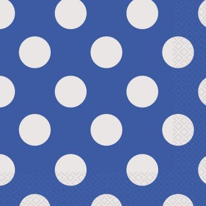 Ubrousky papírové modré s puntíky 33x33cm 16ks