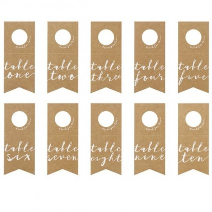 Cedule na lahev s čísly stolů 8 x 18,5 cm 10 ks
